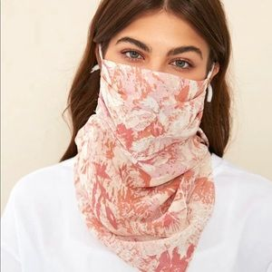 1 Piece Washable Pink Floral Face Mouth Scarf Mask